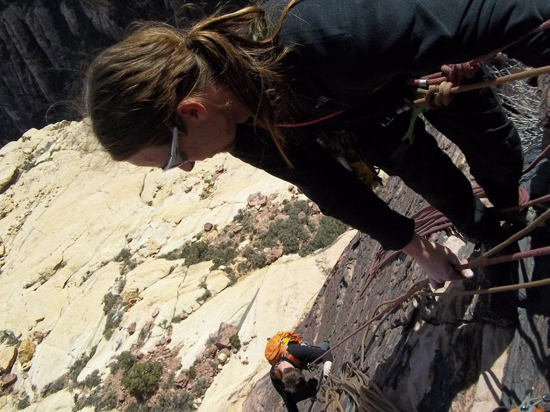 Pullin Chris Brunner up the excellent 4th pitch of Armatron 5.9 Brownstone wall juniper canyon, red rock nevada.