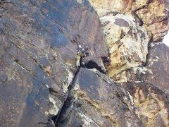 Rock Climbing Photo: Black track 5.9 trad. hidden falls wall. Red rock ...