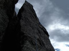 Rock Climbing Photo: Traversing to the flake.