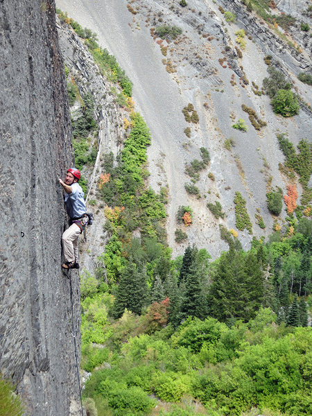 In the upper, slightly-less-steep section.<br> <br> Photo by Thomas Holmes.