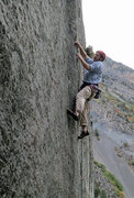 Rock Climbing Photo: Reaching better holds near the top of the steepest...