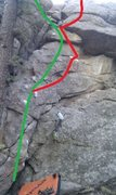 Rock Climbing Photo: Cannons & Muskets.  Green = Muskets, V3. Red = Can...