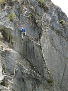 Rock Climbing Photo: Last clip before the chains, on good feet.  Photo ...