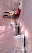 Rock Climbing Photo: hand solo in my coustm foot ware..human flag in a ...