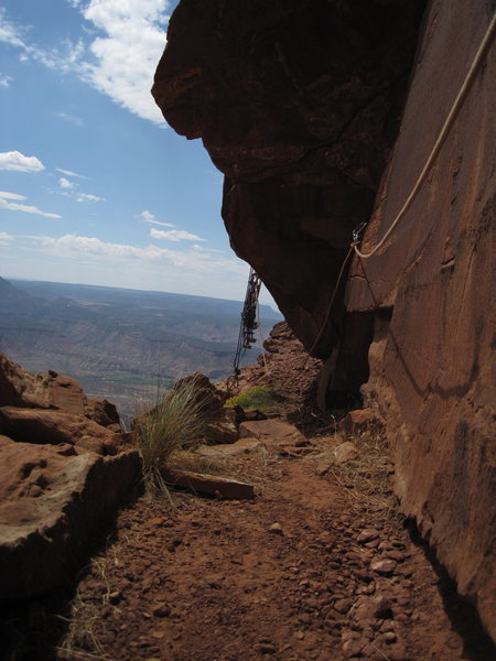 Rock Climbing Photo: biv. ledge top of P5. dihedral corner in r of pic....