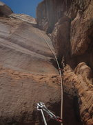 Rock Climbing Photo: bottom up of P12, traverse left at large block in ...