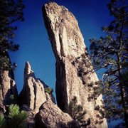 Rock Climbing Photo: blade route follows up dark area of formation onto...