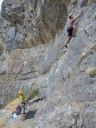 Rock Climbing Photo: Gage starting up the route