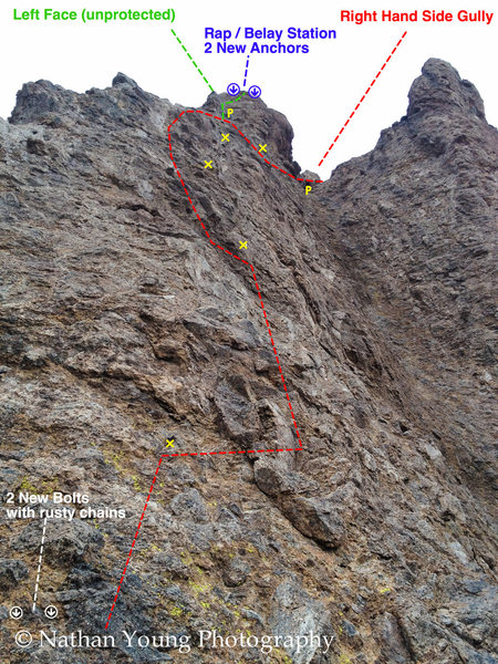 Photo Taken from the belay stance at the start of the 2nd pitch.  <br> <br> This pitch is interesting because it pretty runout in sections, with 10-20 feet between bolts in some places.  Most of the bolts are shiny and new, so you should be able to feel confident on the run outs.  The first bolt was left original in all of it's rusty glory to keep the ascetic of the 1970&@POUND@8242@SEMICOLON@s era route.  When you get past the 5th bolt, you can choose:<br> <br> The popular way and head right into the gully.  There is a crux move from the 5th bolt into the gully, with a garbage piton at the base of the gully that is there to make you feel good, I'd avoid falling on it at all costs.<br> <br> The less popular and more dangerous left handed face.  This face is protected with one piton at the base of the saddle, yet again another relic of the 1970&@POUND@8242@SEMICOLON@s era route.  There are two pretty cruxy sections on this face, one right above the piton and another about 10-15 feet higher then the piton.  There isn't much in the way of protecting this face except for a couple places for micro-stoppers on the far left hand side of the arrete.  If you're not a fan of highballing…. go through the gully.<br> <br> The top of the spire has two great belay / rap bolts with a few lengths of chain.  You want to double line rappel this back to the middle belay ledge to be safe.  It is possible to rap off the left hand side of the spire and hit the ground using two 70m ropes, but make sure you put some knotts in the ends of the ropes to be safe.  (Pulling the rope from these chains is TOUGH… a lot of the time it feels like your just pulling on the dynamic reaction of the rope. Just keep yanking and it will fall.)