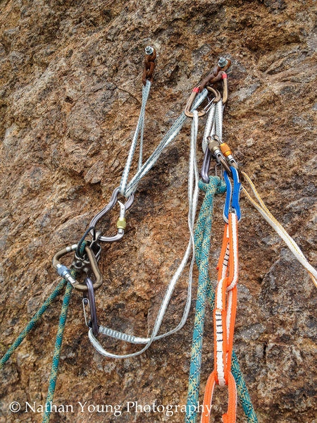 2nd Pitch Belay Stance....<br> <br> Gets a bit crowded with three people up there.<br> <br> The bolts are new but the chains are pretty rusty.  They are just fine though.