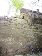 Rock Climbing Photo: Blue rope on W&W. Climber at crux of Mossad.
