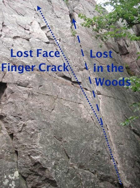 The LF Finger Crack heads left and joins LF proper. The alternative finish (Lost in the Woods?) goes straight up a finger sized crack and tops out at a tree back in the IBEX gully. (Photo by Andy Hansen)