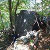 Sleepy Time boulder.  Fully Aroused climbs center of slab.