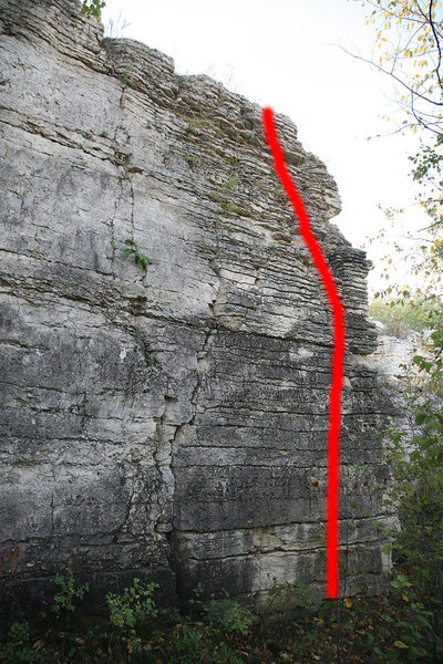 Rock Climbing Photo: Go up the thin ledges just to the left of the arê...