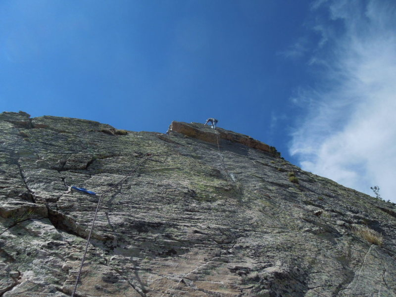 Patrique climbing P5, 5.9