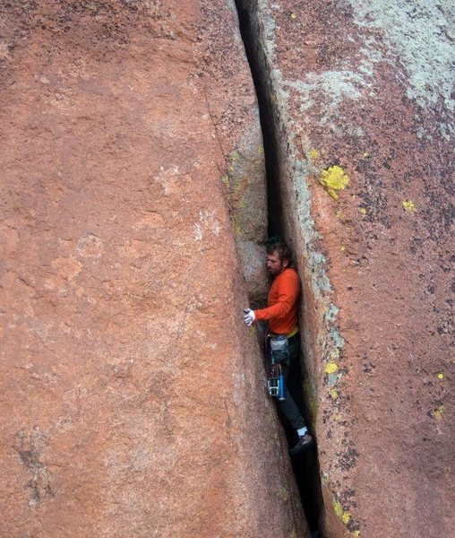 Rock Climbing Photo: Patrick Kingsbury crushing an offwidth on the crag...
