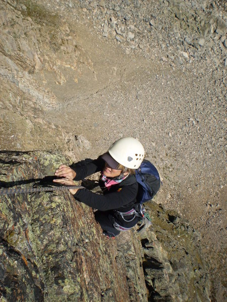 The Angel of Choss herself, Jenny Ball, high on pitch 4.