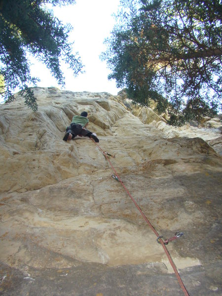 "Kyle about to get some ""Extended Play"" on Marshal Mantels, 5.11c."