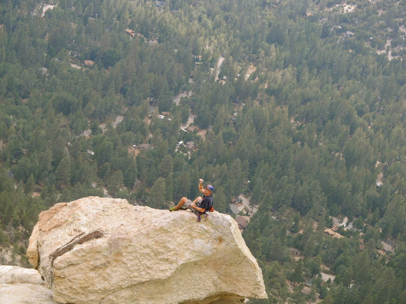 Rock Climbing Photo: relaxing after leading 5 pitches. Fingergrip, fing...