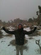 snowing in Joshua Tree after climbing allllll dayyy!!
