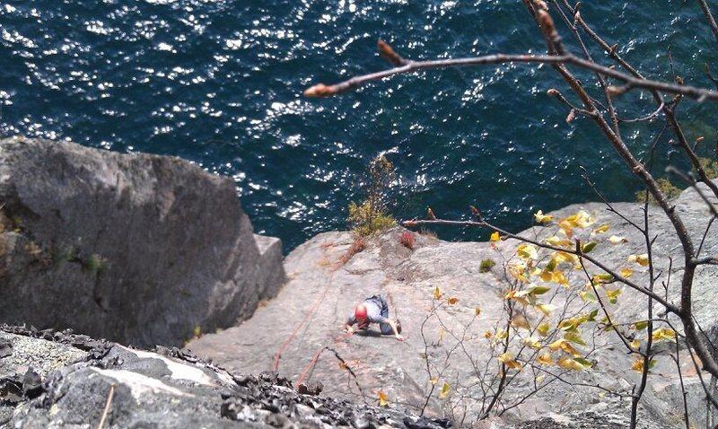 Rock Climbing Photo: Corwin Diamond climbing off-route on an interestin...