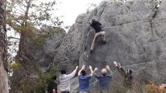 Rock Climbing Photo: Through the crux on Classic Arete