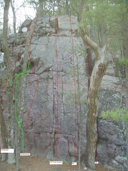 """""""Corked Lunch"""" route added in green.<br> This route makes a exciting lead.  Bottom 20 with no pro but has super positive edges.  Top 20 shared with """"No Picnic"""" route and where lots of jugs and gear options are for the pick'ns on the picnic blanket."""