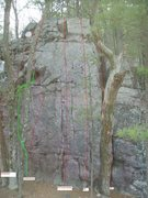 "Rock Climbing Photo: ""Corked Lunch"" route added in green. Thi..."