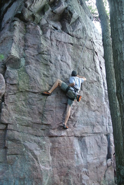 "Rock Climbing Photo: Eric pulls the crux of ""No Picnic"" with ..."