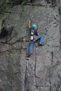 Rock Climbing Photo: Doug on the lead and beyond the crux move of &quot...