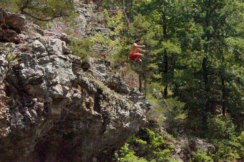 Rock Climbing Photo: Catching air at Kyles Landing, Arkansas.