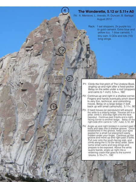 Rock Climbing Photo: Wonderette Topo.  Note that the gear in the parent...