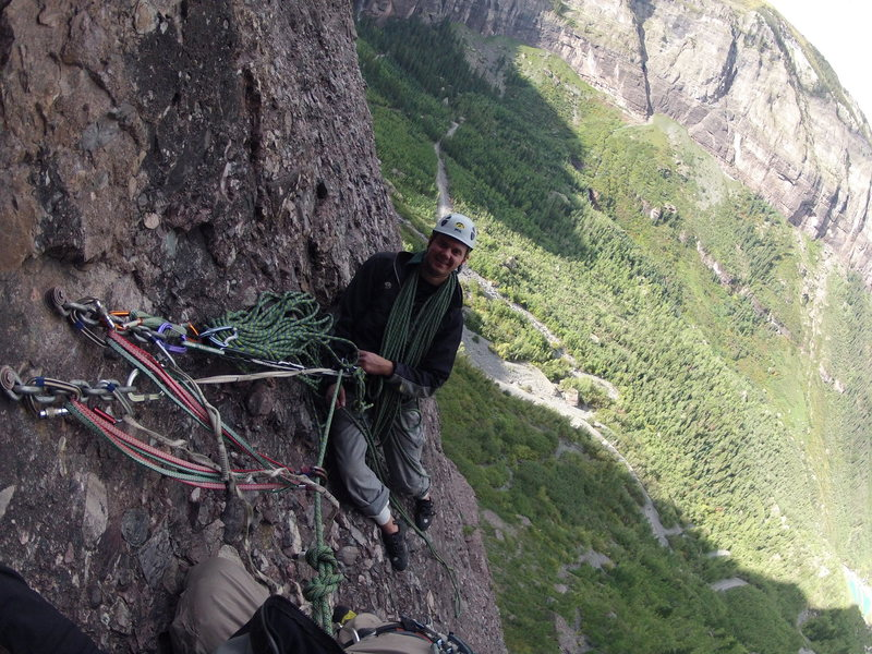 The second belay station.  Semi-hanging.