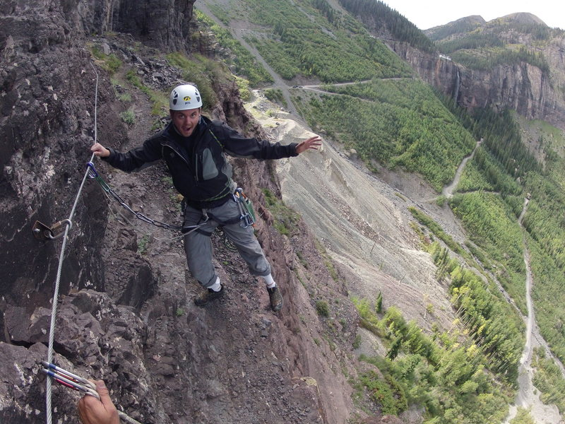 Rock Climbing Photo: The via ferrata.  You can walk off the top of this...