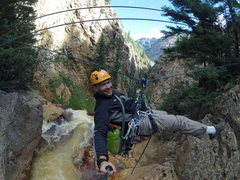 Rock Climbing Photo: The tyrolean over the creek.  Just on top of the w...