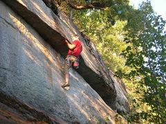 "Rock Climbing Photo: The crux move on ""Rawhide."""