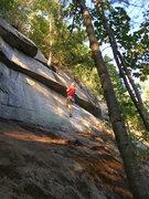Rock Climbing Photo: Leading the crux overlap on the FA.  The line move...