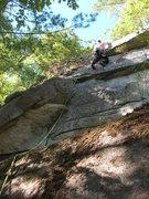 Rock Climbing Photo: Joshua on the bulging slab over the flake.
