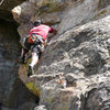 Shane Morris showing that it truly is an arete climb. Photo M. Bennet.