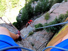 Rock Climbing Photo: Sittin' on the first belay anchors.