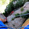 Sittin' on the first belay anchors.