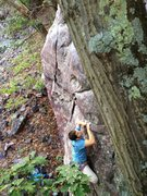 Rock Climbing Photo: Ryan on the slopey pinch match move.
