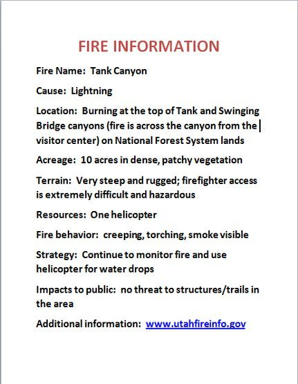 Rock Climbing Photo: Tank Canyon Fire Information