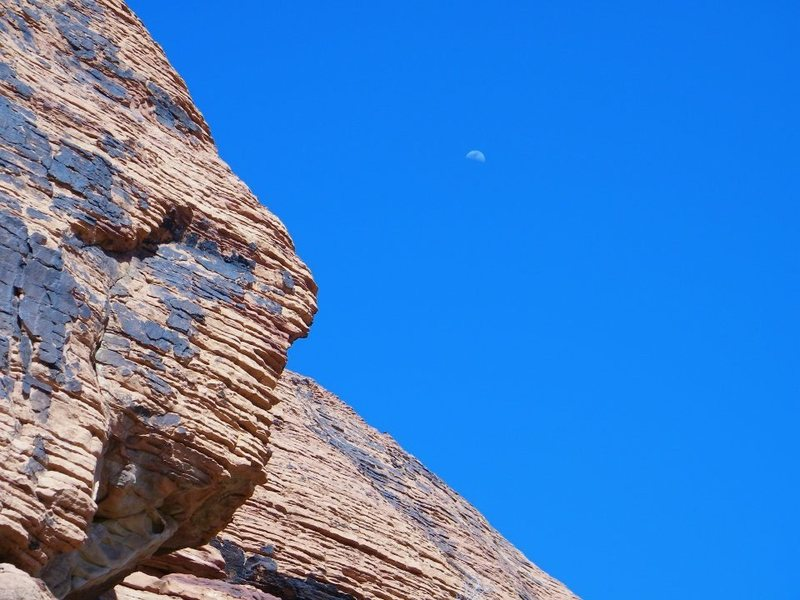 Rock Climbing Photo: Midday moon; part of Ken Queasy at left