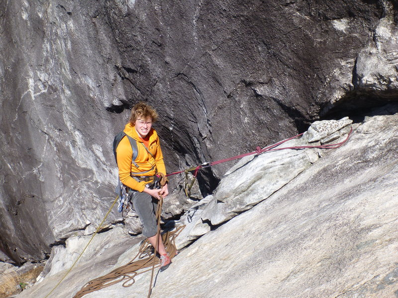 Rock Climbing Photo: J Dull at the top of the third pitch! Chicken head...