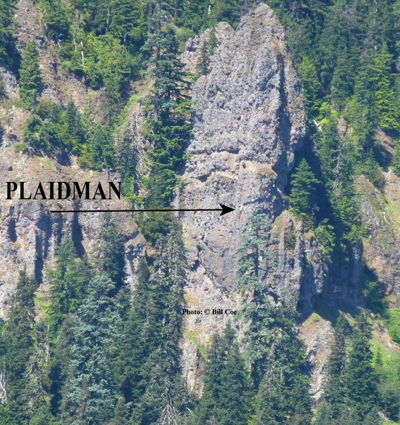 Scott Peterson (Plaidman) leading the FA of Brother Mike. <br> <br> This is a good overview shot to see the route's location.