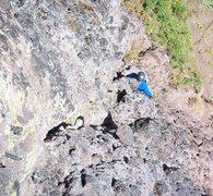 Rock Climbing Photo: Rick McDonald leading pitch 1 on the 2nd ascent.