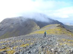 Rock Climbing Photo: Lyn heading towards the summit of Ben More on the ...