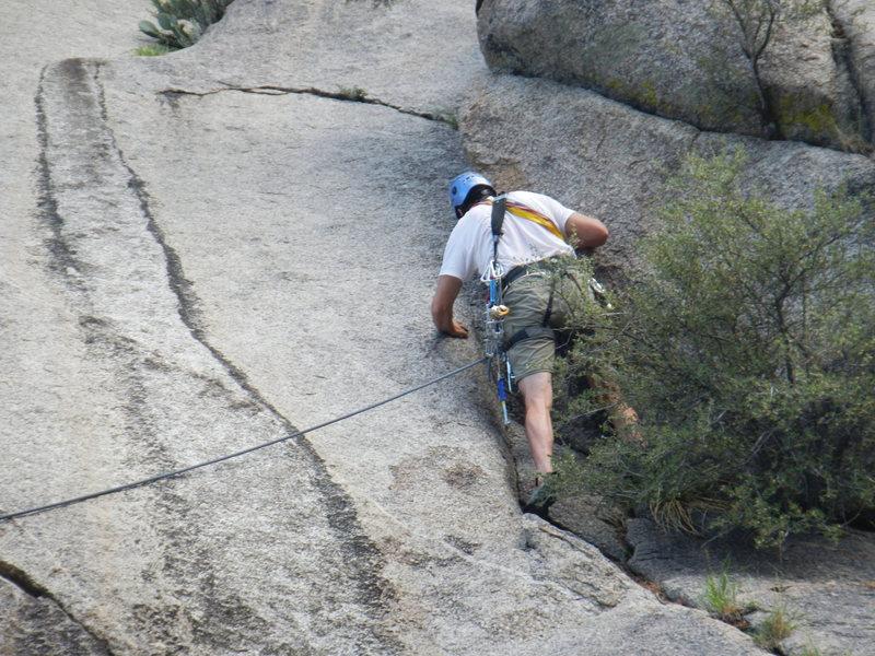 Rock Climbing Photo: Tom Claus leading the slab below P1
