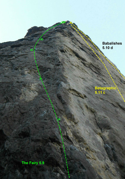 the climb on the farthest left, on the arete next to Betagraphic.
